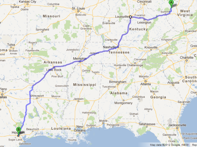 Gallipolis, OH, to Houston, TX